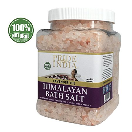 - Pride Of India - Himalayan Pink Bathing Salt - Enriched w/Lavender Pomade, 2.5 Pound (40oz) Jar - Bath Salts, Bath Salts for Women and for Men, Himalayan Salt Bath
