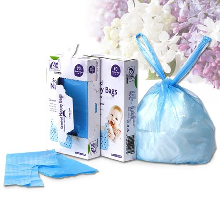 Elsky Baby Disposable Diaper Sacks Scented Ny Bags Blue 90 Count