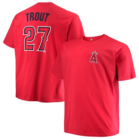 Mike Schmidt Signed Baseball - Men's Majestic Mike Trout Red Los Angeles Angels MLB Name & Number T-Shirt