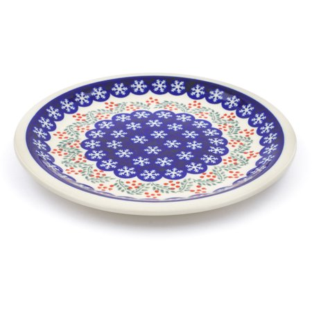 Hand Painted Snowflake (Polish Pottery 10¾-inch Dinner Plate (Snowflakes Tree Theme) Hand Painted in Boleslawiec, Poland + Certificate of Authenticity)