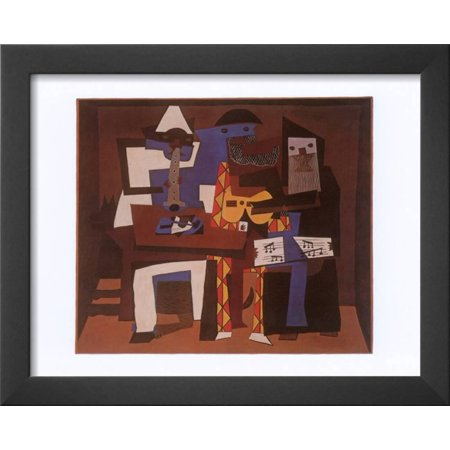 Three Musicians, c 1921 Framed Art Print Wall Art By Pablo Picasso - 16x13