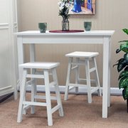 Carolina Tavern 3 Piece White Pub Table Set with Tavern White Backless Stools by Pub Tables