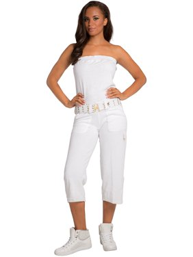 37617cc064a Product Image Sweet Vibes Juniors White Stretch Terry Cloth Tube Jumpsuit  With Belt