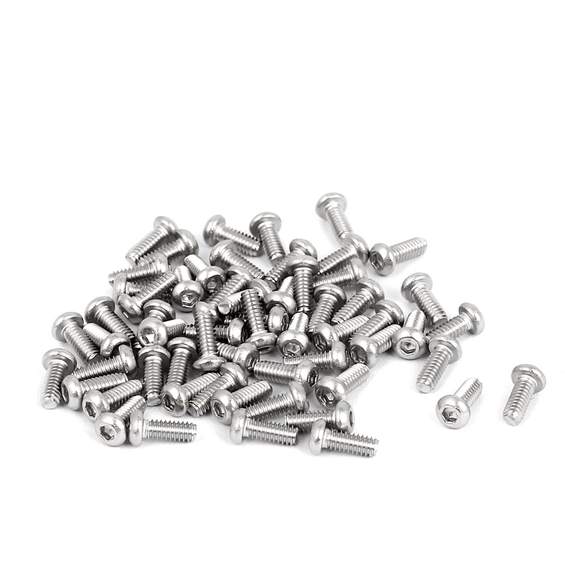 50 Pcs M2 x 5mm Silver Tone Stainless Steel Button Head Socket Cap Screw