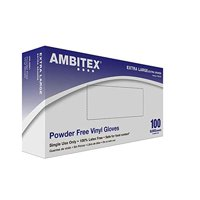 Ambitex Powder Free Vinyl Gloves, General Purpose Gloves, XL, EXTRA LARGE, XL5201 - Box of 100