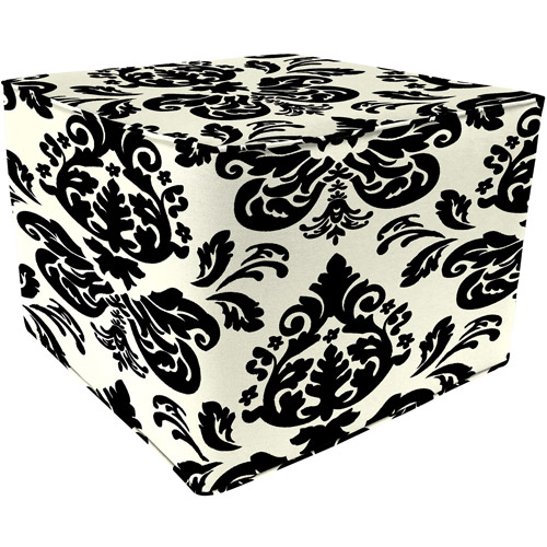 Square Outdoor Floral Pouf Ottoman, Alex Twilight