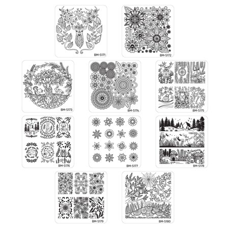 Maniology (formerly bundle monster) 10pc Nature Themed Nail Art Stamp Plates - Mystic Woods, Set - Halloween Nail Art Plates