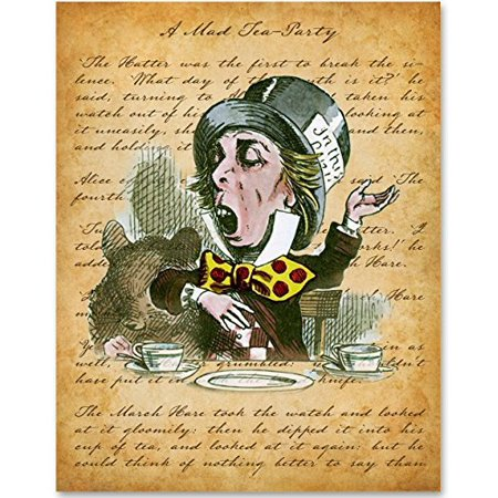 The Mad Hatter Sings - 11x14 Unframed Alice in Wonderland Print - Alice In Wonderland The Mad Hatter