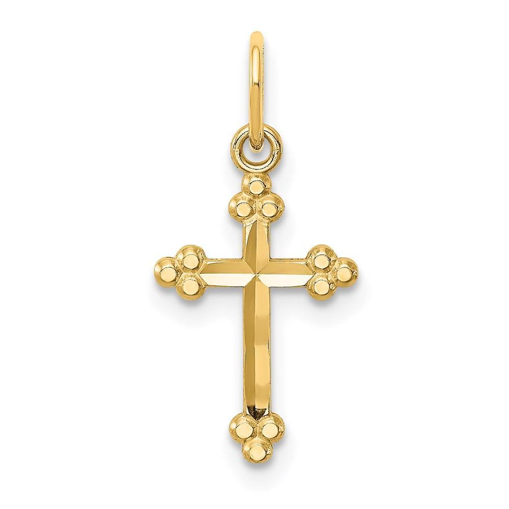Details about  /14K Budded Diamond-Cut Crucifix Charm Pendant