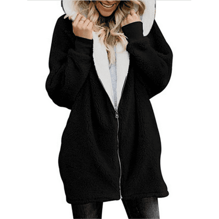 Womens Tedy Bear Fleece Fur Fluffy Winter Coat Jacket Long Sleeve Hoodie Outwear