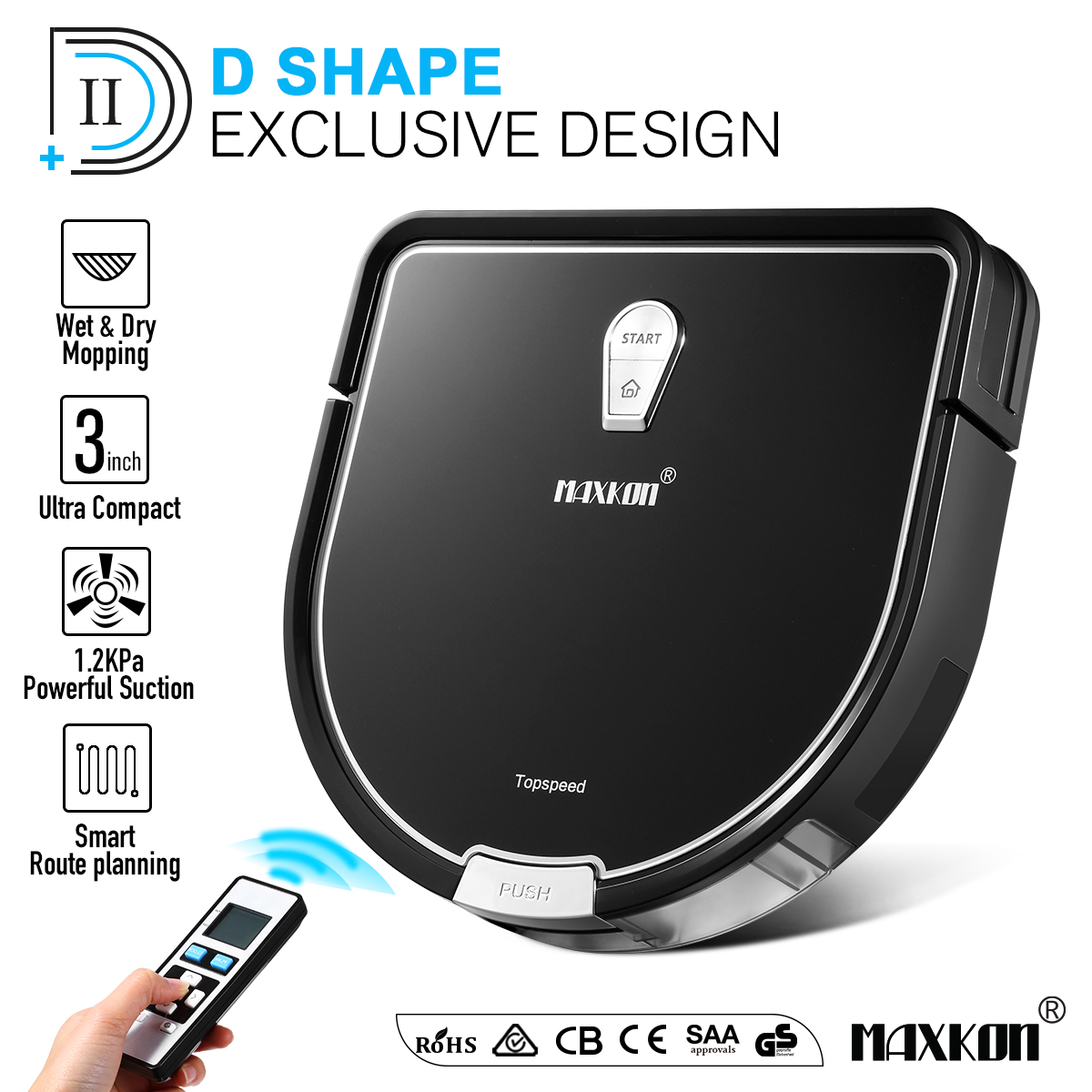 Maxkon Pro Robot Vacuum Cleaner, 2-IN-1 Dry & Wet Mopping Automatic Smart Robotic Sweeper, Self-Charging, Scheduling Setting, Edge Cleaning & Cliff Sensor Tec w/ Remote