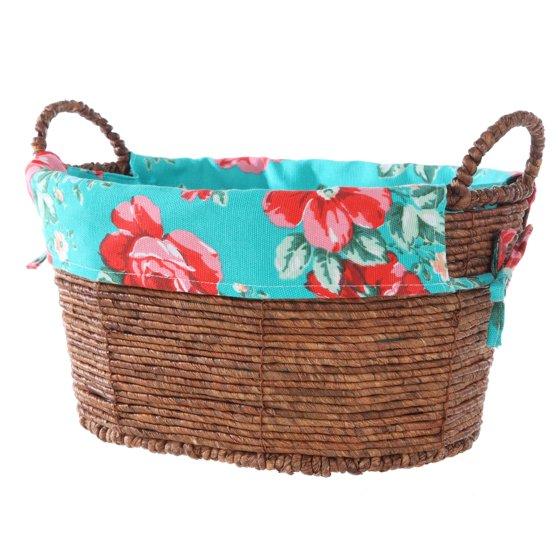 Pioneer Woman Oval Teal Floral Basket Small Walmart Com