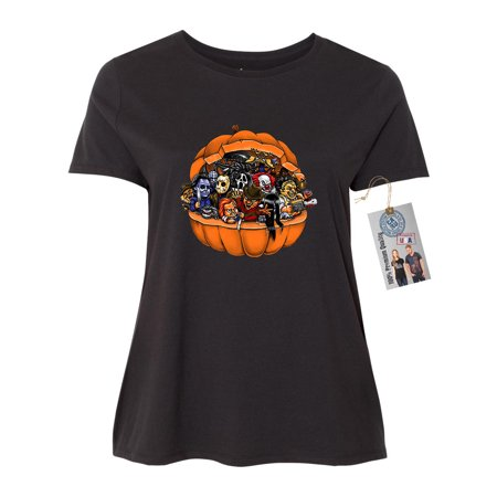 Pumpkin Halloween Scary Characters Plus Size Womens Short Sleeve T-Shirt Top