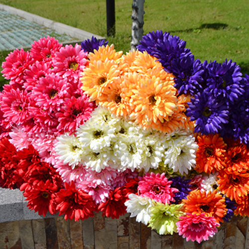 Girl12Queen 1 Pc Artificial Silk Gerbera Daisy Flower Wedding Party Bouquet Home Garden Decor