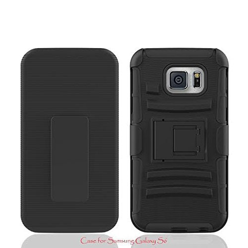 Samsung Galaxy S6 Edge Case, 3-in-1 Heavy Duty Hybrid Holster Shell Combo[Kickstand] Case - Red