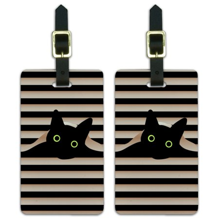 Graphics and More Black Cat In Window Luggage ID Tags Suitcase Carry-On Cards - Set of 2