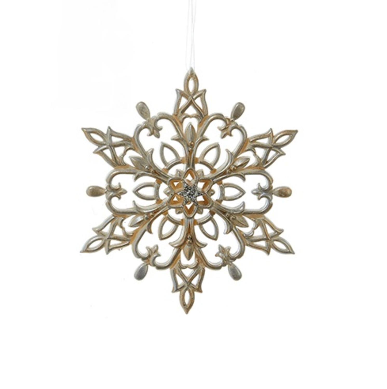 "Kurt S. Adler 5"" Star Snowflake Christmas Ornament - Gold/Silver"