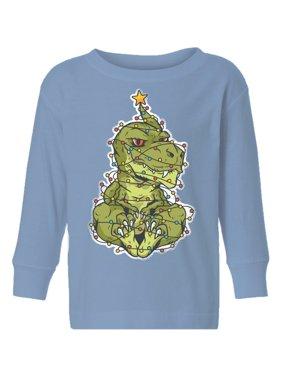Awkward Styles Ugly Christmas Long Sleeve Shirt for Boys Girls Toddler Xmas Dinosaur Shirt