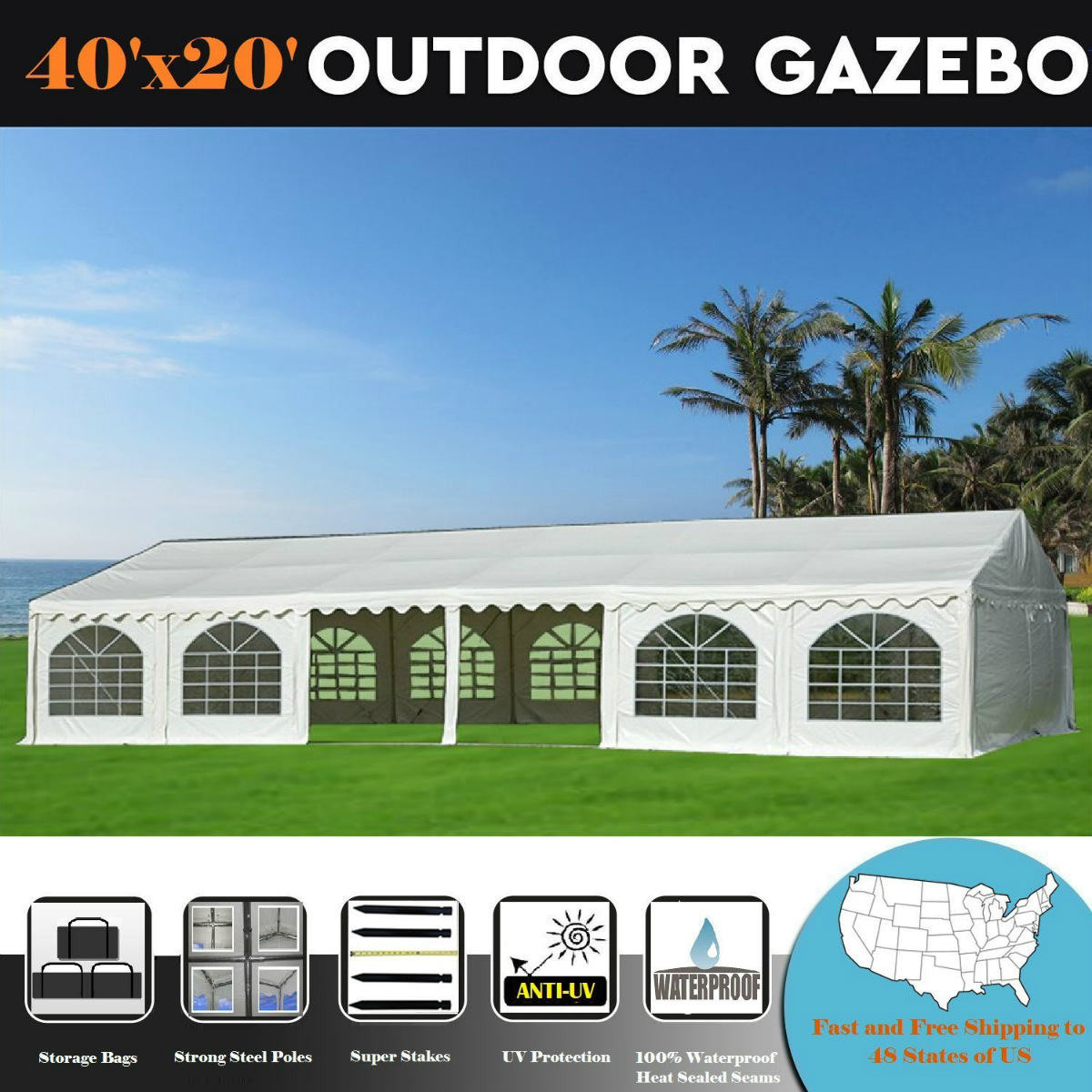 40'x20' PVC White Tent - Heavy Duty Wedding Party Tent Canopy