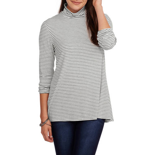 Faded Glory Women's Ribbed Mockneck Swing Top