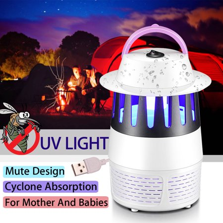 Electric Mosquito Killer Insect Bug Zapper USB Light Trap Lamp Pest Control UV LED Photocatalyst Fly Dispeller Non-Radiative Built in Fan Mosquito Catcher Home Outdoor Camping