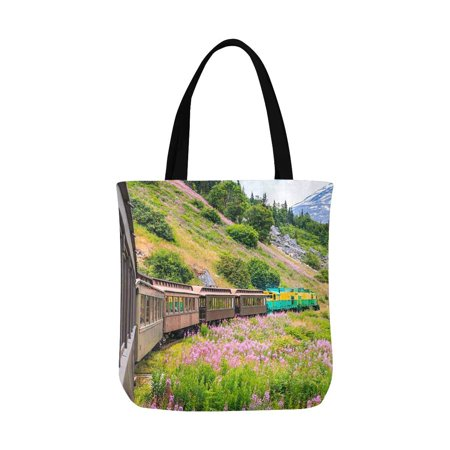 ASHLEIGH White Pass & Yukon Route Railroad in Skagway Alaska USA Unisex Canvas Tote Canvas Shoulder Bag Resuable Grocery Bags Shopping Bags for Women Men