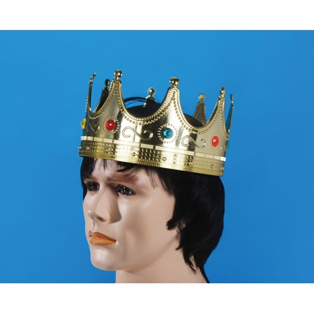 Star Power Royalty Jeweled King Costume Plastic Crown, Gold, 25 - Gold King Crown