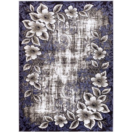 Persian Rugs 4613 Navy Blue Floral Modern Area Rug 8x10