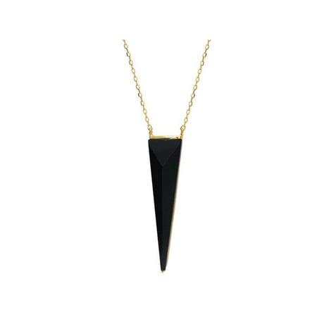 Fronay 551152 16 in. Black Onyx Pyramid Pendant Necklace in Vermeil - image 1 de 1