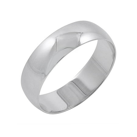 - Men's 10K White Gold 6mm Traditional Plain Wedding Band (Available Ring Sizes 8-12 1/2)