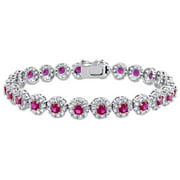 Miabella 14 5/8 CT TGW Red Cubic Zirconia and Created White Sapphire Floral Bracelet in Sterling Silver