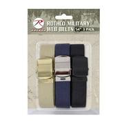 "Rothco 54"" Military Web Belts 3-Pack, Black, Navy Blue, Khaki"