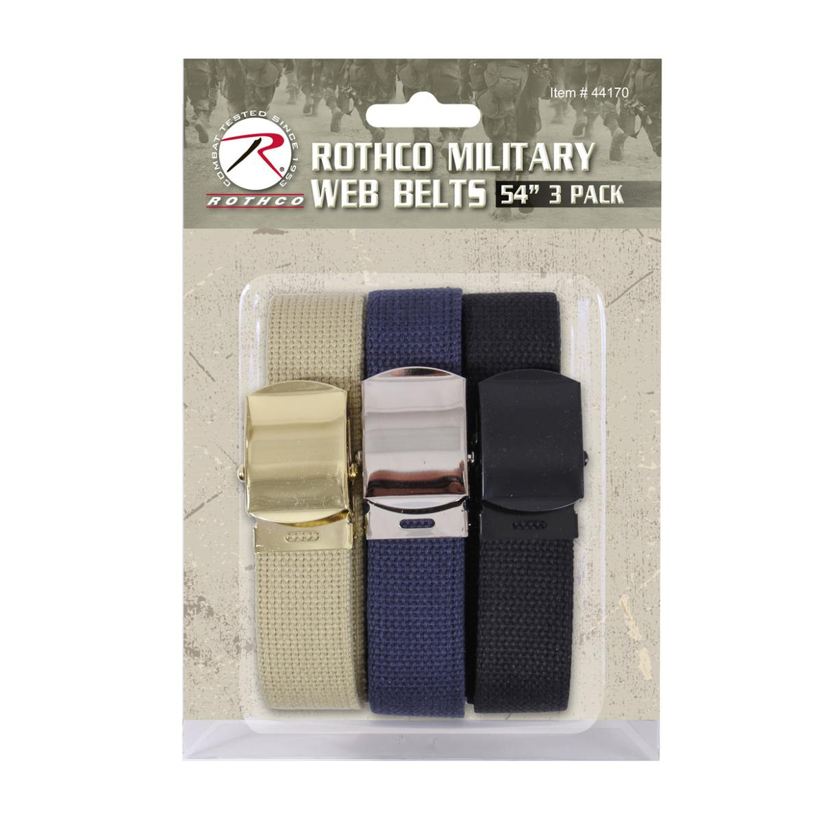"Rothco 54"" Military Web Belts 3-Pack, Black, Navy Blue, Khaki"