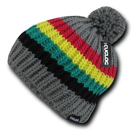 - Gray Rasta Marley Jamaican Warm Woven Winter Sweater Pom Cable Slouch Beanie Hat