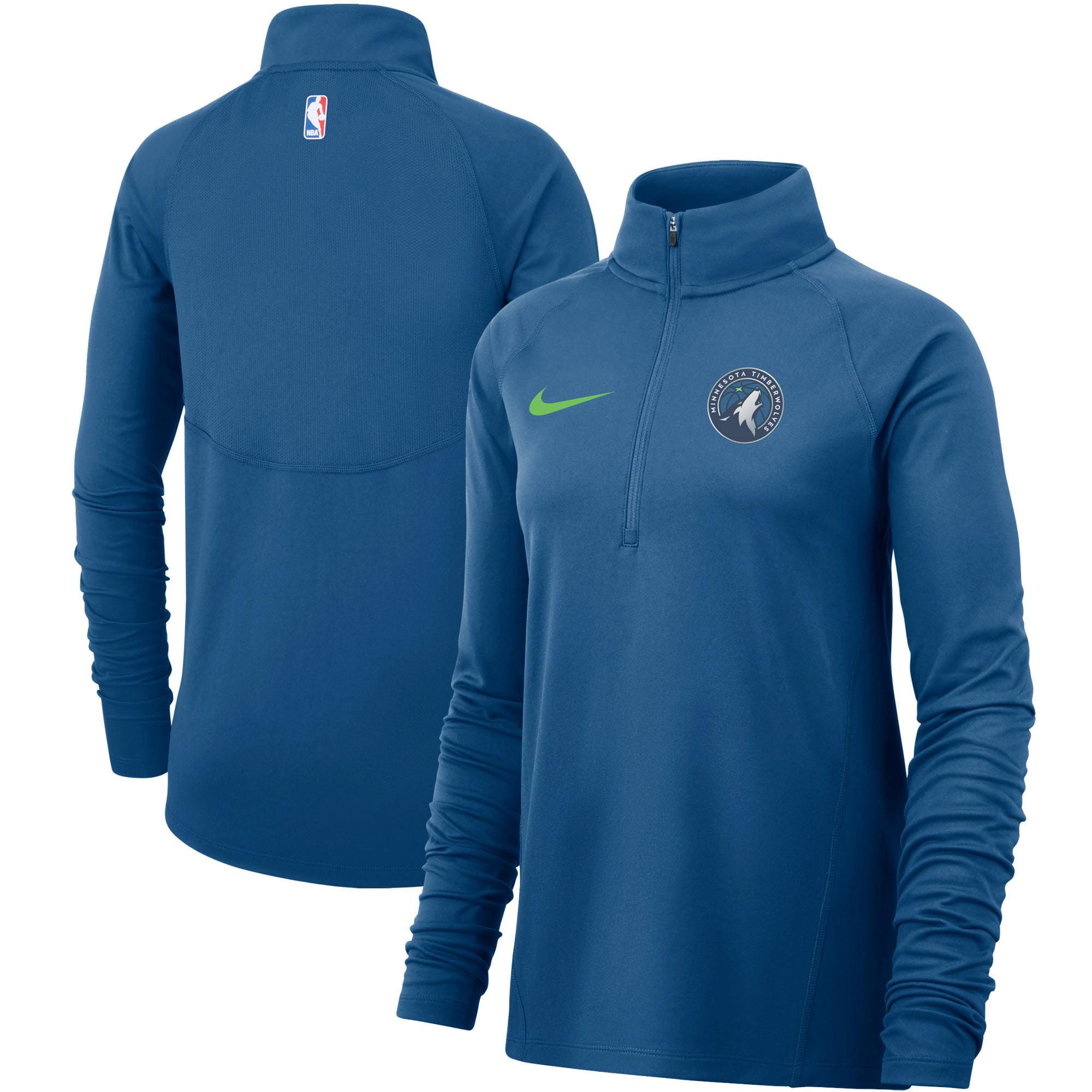 Minnesota Timberwolves Nike Women's Element Performance Raglan Sleeve Half-Zip Pullover Jacket - Blue