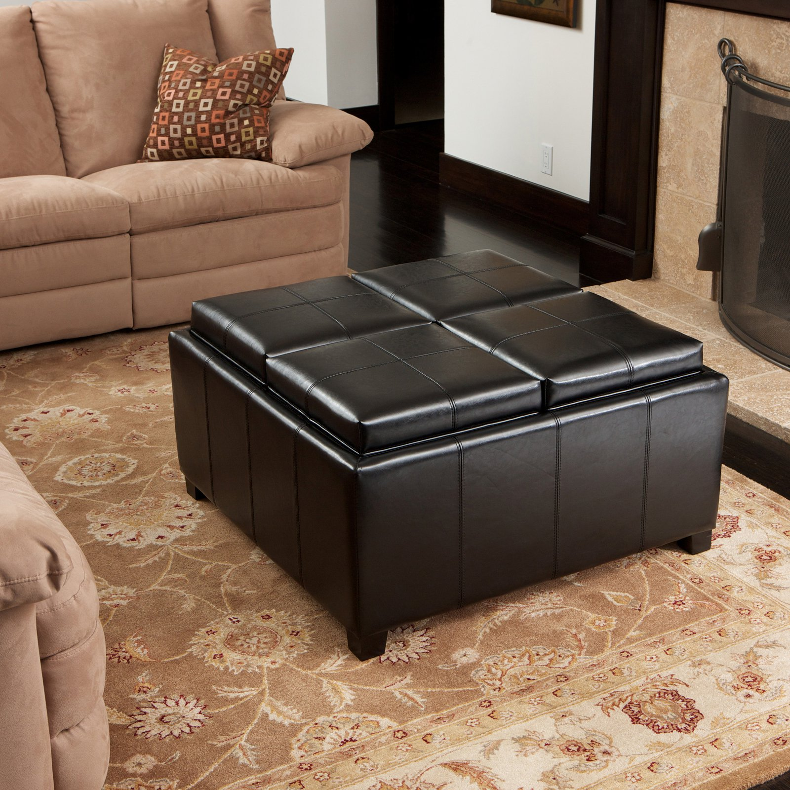 Best Selling Home Decor Dartmouth Four Sectioned Leather Cube Storage Ottoman