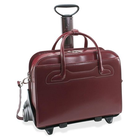 McKlein USA McKlein Willowbrook Red Detachable-Wheeled Rolling 17-inch Laptop Briefcase