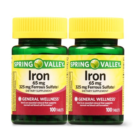 Spring Valley Iron Supplement Tablets, 65 mg, 100 Ct, 2 (Herbal Iron Supplement)
