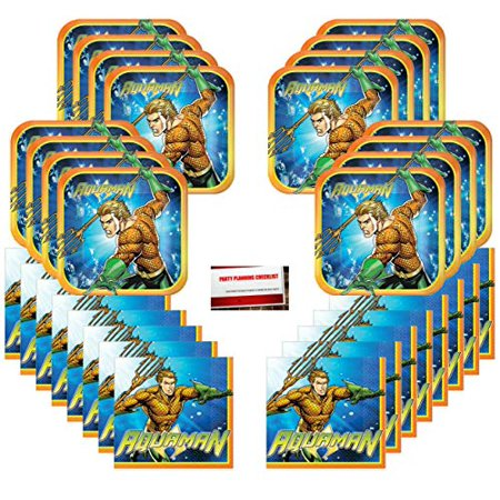 Aquaman Birthday Party Supplies Bundle Pack for 16 Guests - Party Supplies Phoenix