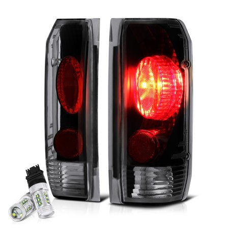 VIPMOTOZ Black Smoke Euro Style Tail Light Lamp Assembly For 1987-1996 Ford Bronco F-150 F-250 F-350 Pickup Truck, Driver & Passenger Side