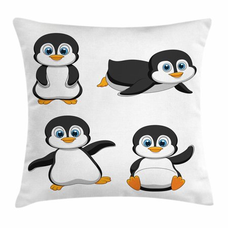 Baby Throw Pillow Cushion Cover, Cute Penguin Cartoon Waving Standing Sliding Smiling Animal Humor Antarctica, Decorative Square Accent Pillow Case, 16 X 16 Inches, Black Blue Orange, by Ambesonne (Penguin Pillow)