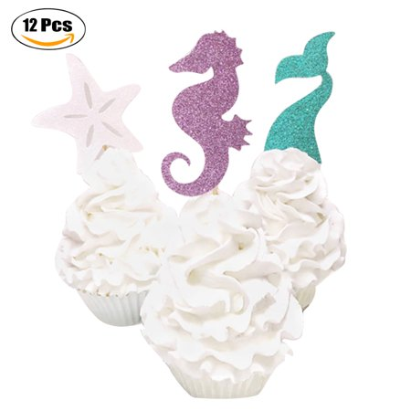 12PCS Cake Topper Glitter Mermaid Theme Cupcake Topper Cupcake Pick Party Decor Topper for Baby Shower Birthday Party - Summer Baby Shower Themes