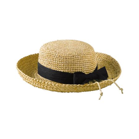 Women's San Diego Hat Company Raffia Hat Crochet Crown RHL9 Natural/Black Ribbon One Size (Raffia Classic Hat)