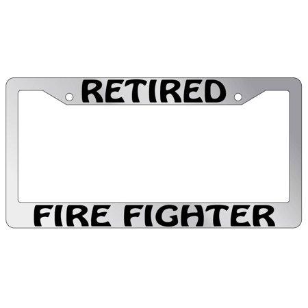 Retired Firefighter Chrome Plastic License Plate Frame AMA - Walmart.com