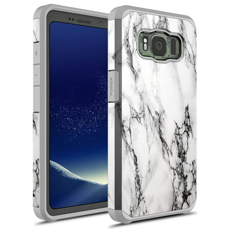 Galaxy S8 Active Case, KAESAR Sleek Slim light weight Hybrid Dual Layer Shockproof Hard Cover Graphic Fashion Cute Colorful Silicone Skin for Samsung Galaxy S8 Active (White Marble)