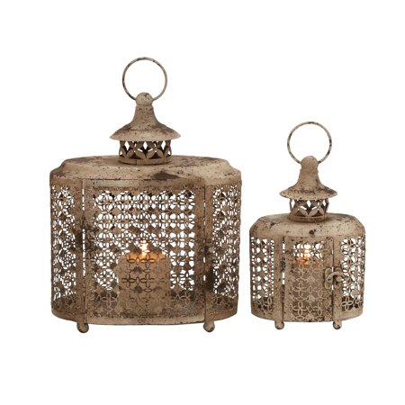 The Rustic Set Of 2 Metal Candle Lantern ()