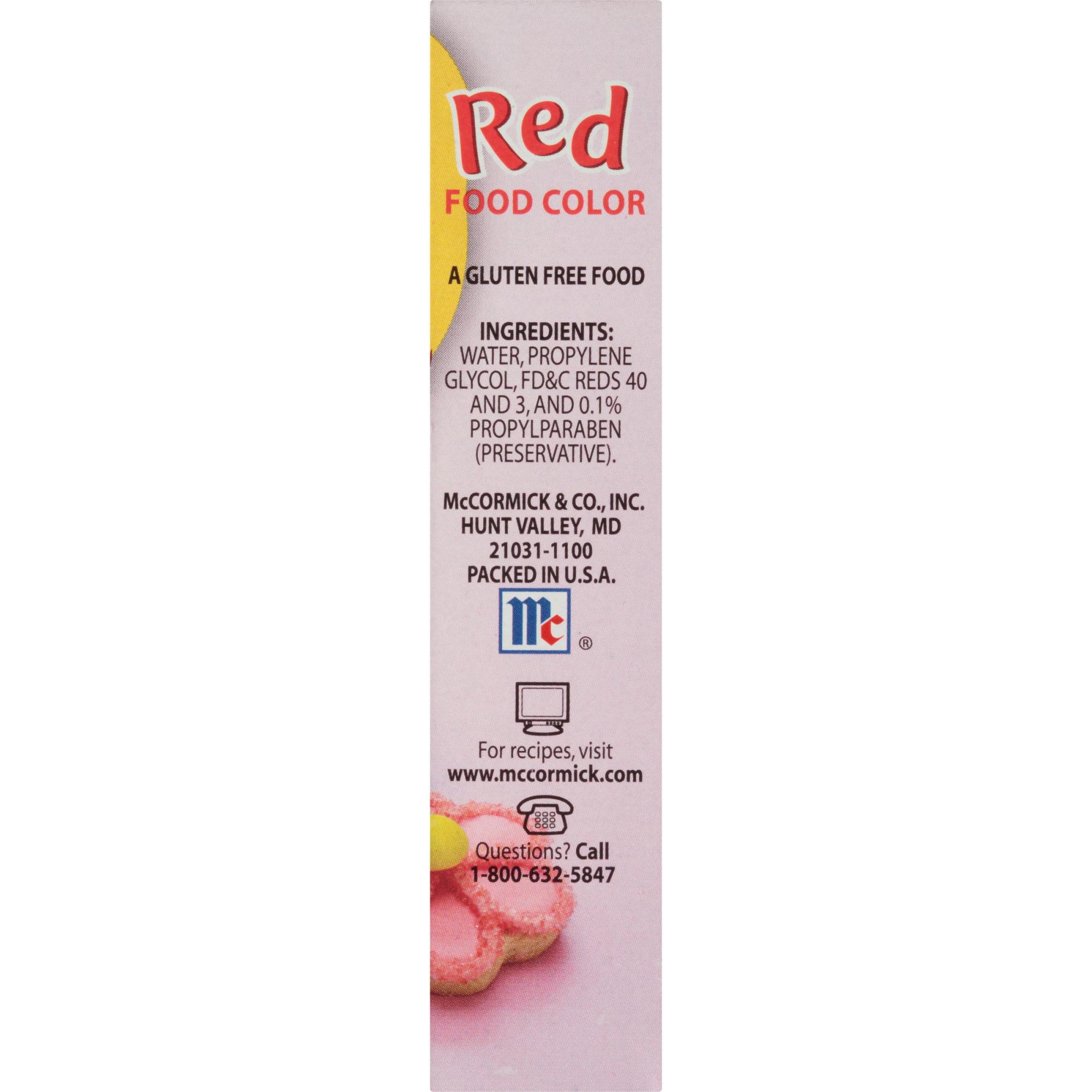 Mccormick Red Food Color 1 Fl Oz Walmart Com