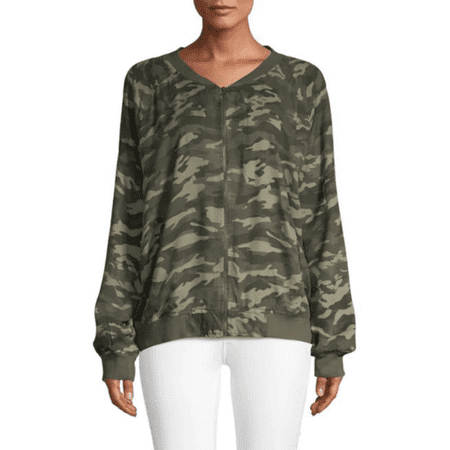 Beach Lunch Lounge Women's Camo-Print Bomber Jacket in XXL Print Puffy Jacket