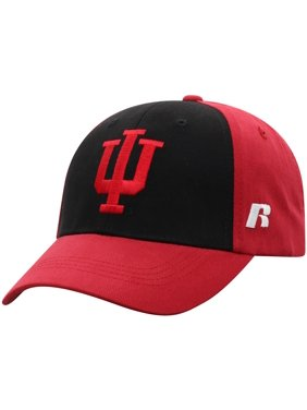Men's Russell Athletic Black/Crimson Indiana Hoosiers Endless Two-Tone Adjustable Hat - OSFA