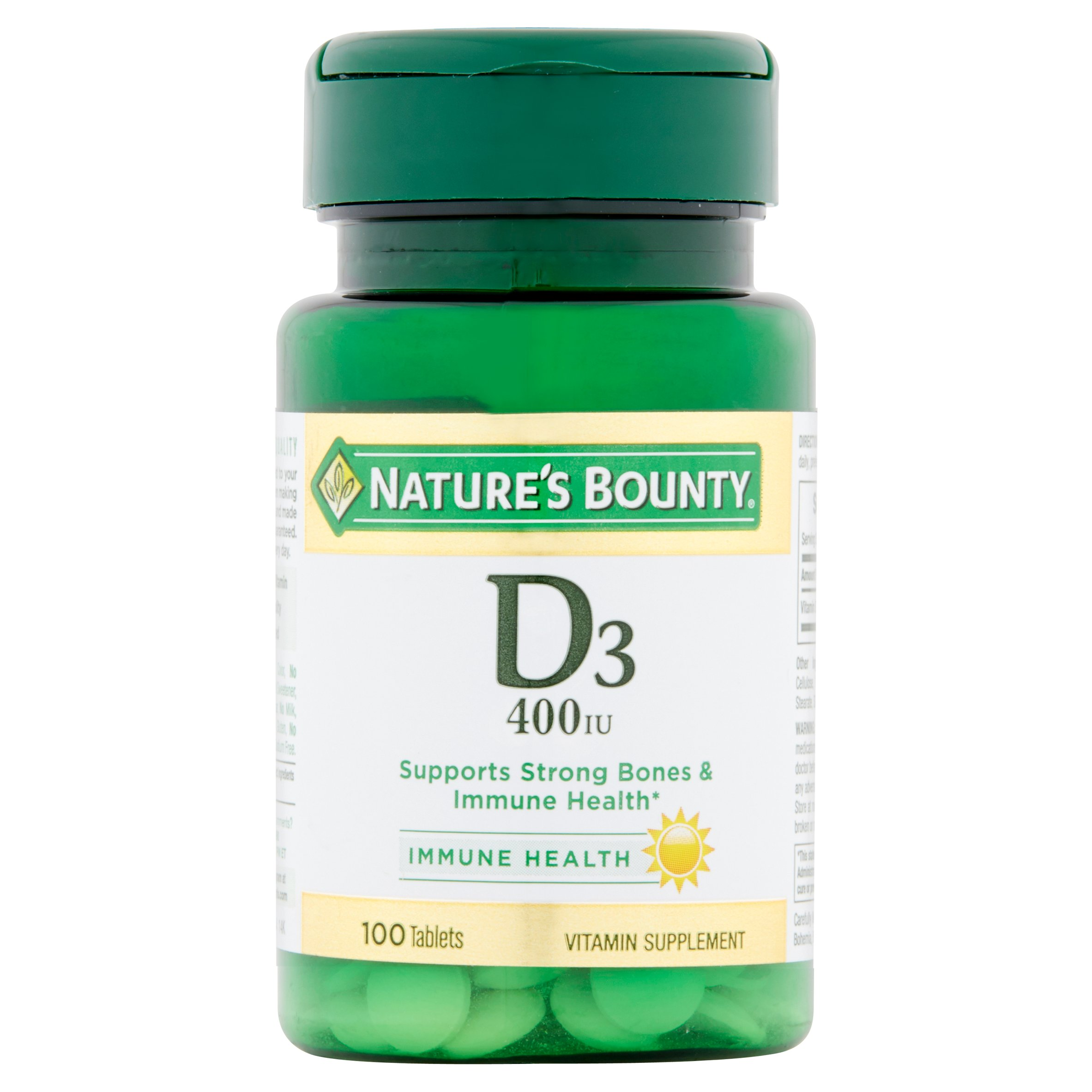 (2 Pack) Nature's Bounty Vitamin D3 Tablets, 400 IU, 100 Ct